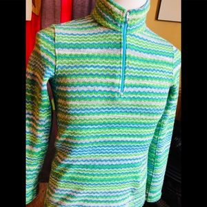Spyder Ski Snowboard Fleece 1/4 Zip Blue Green 10